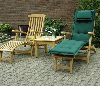 britannia deckchairs van teakhout met groen dechchairkussen