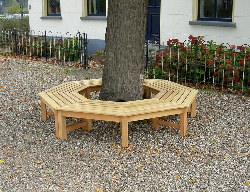 boombank van hout 8 hoekig
