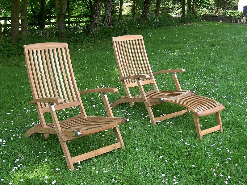 deckchairs lichtgewicht van teakhout, rvs beslag en afneembaar voetenbankje