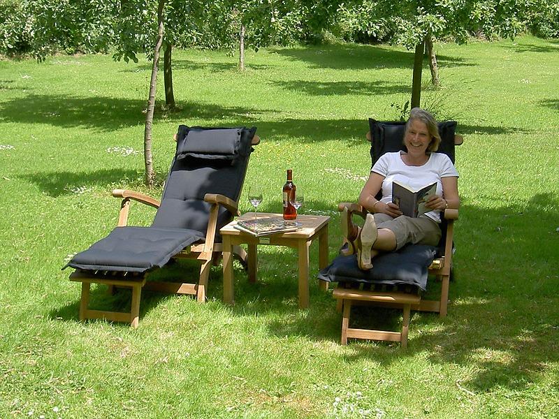 deckchairs van teakhout met deckchairkussen zwart