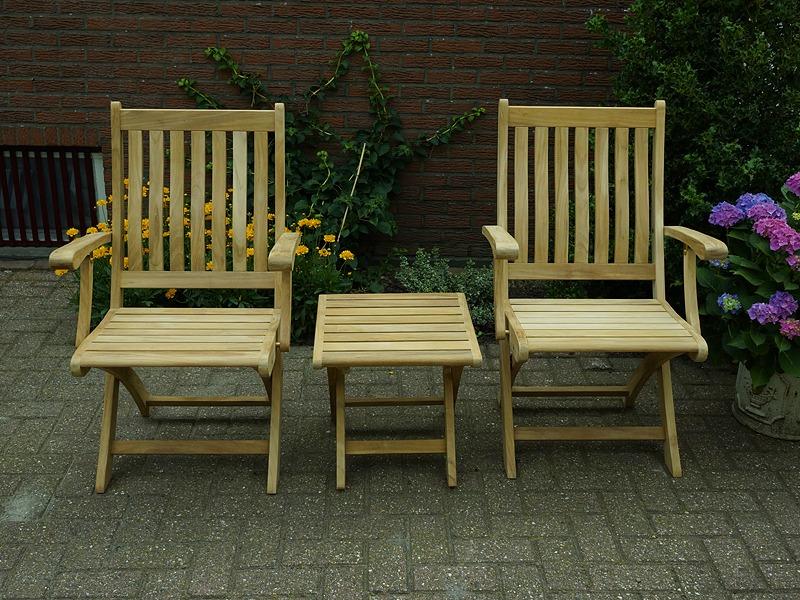 fsc teak houten klapstoelen in tuin