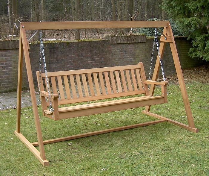 houten schommelbank fsc hardhout zonder dak met zitbank voor 3 personen
