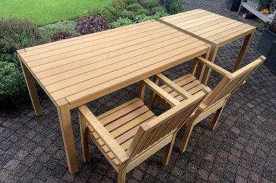 houten tuintafel van 165 cm lang, te combineren met dezelfde tuintafel van 90 cm x 90 cm.