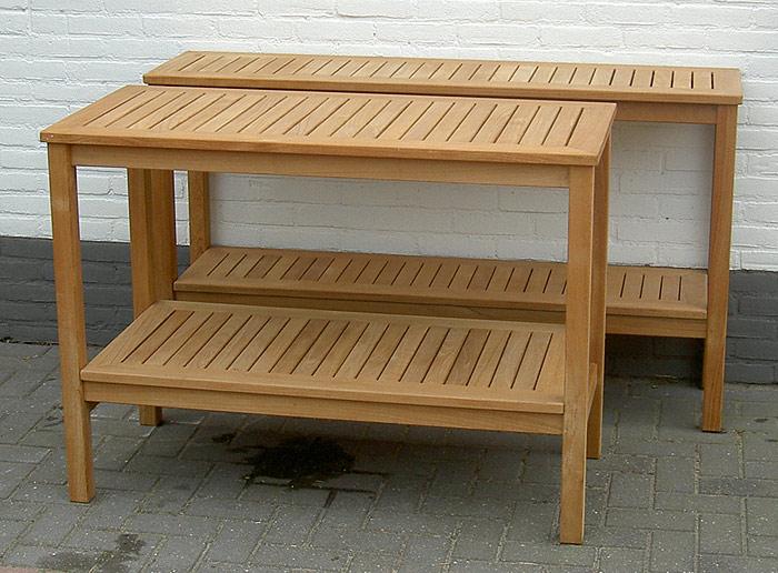 luxe werktafels van teak hout