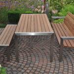 moderne tuinbank rvs (roestvrij staal) frame met teakhout