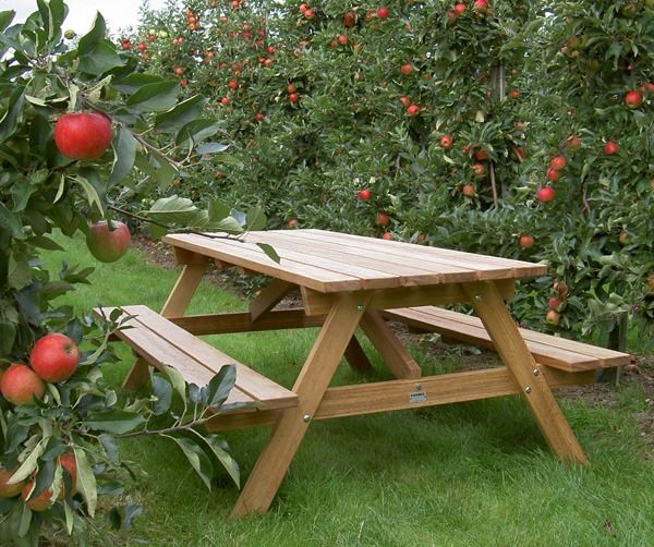 picknicktafel van FSC hard hout in kapel-avezaath in de boomgaard
