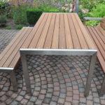 roestvrij staal tuinmeubelen in combinatie met teak hout
