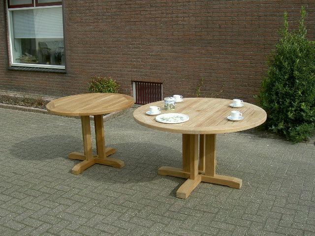 ronde tuintafels van teakhout fsc 100cm, 130cm en 150cm