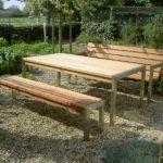 tuintafels en tuinbanken van rvs (roestvrij staal) met hard hout