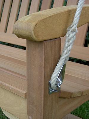 luxe schommelbank met touw en rvs beslag