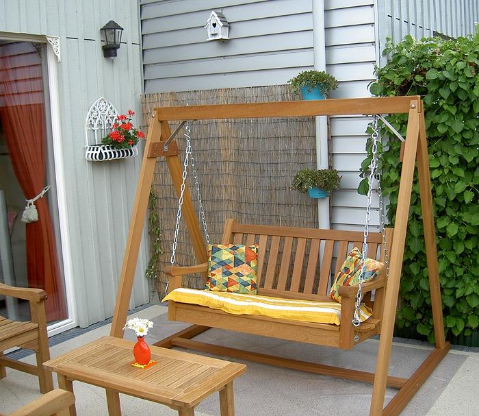 houten schommelbank, fsc hardhout met zitbank van 120 cm. voor 2 personen