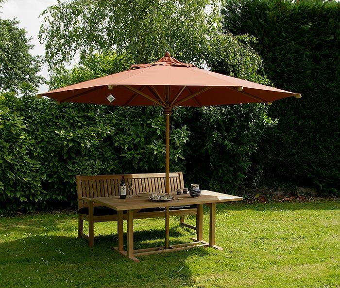 teakhouten tuintafels met parasolgat