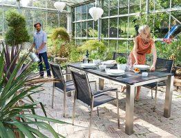 tuinstoelen van roestvrij staal (rvs) met textileen bekleding