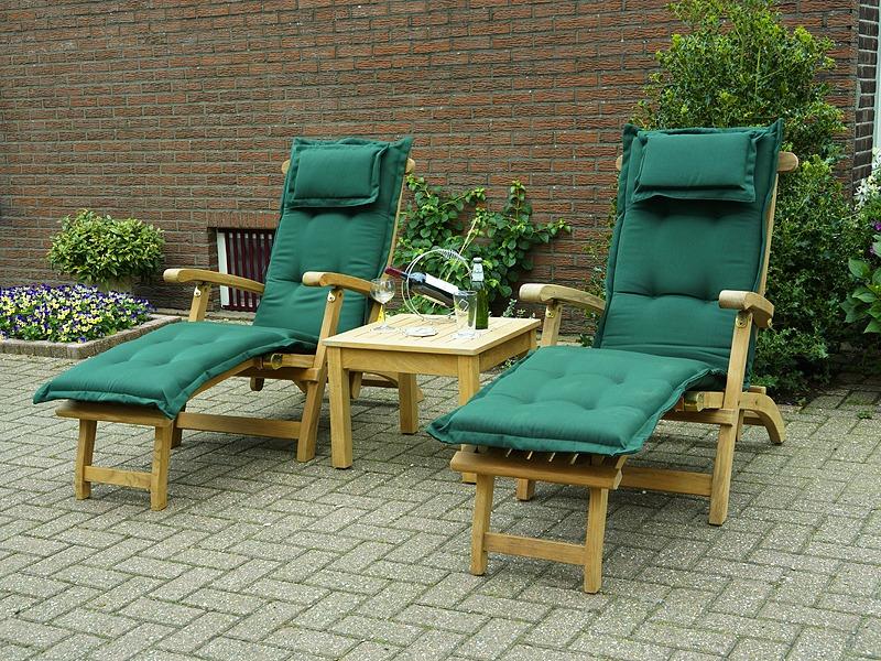 victoria deckchairs met groen deckchairkussen